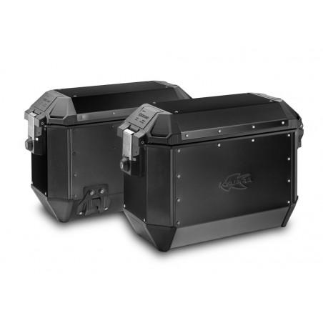Coppia di valigie Kappa K'MISSION in alluminio naturale versione nera 36lt