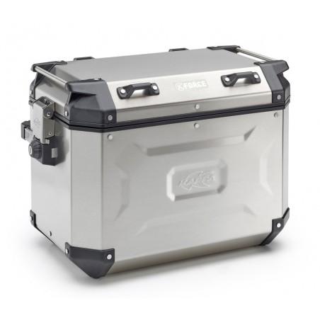 Coppia di valigie laterali Kappa in alluminio naturale, 1 KFR48AL (sx) e 1 KFR37AR (dx)