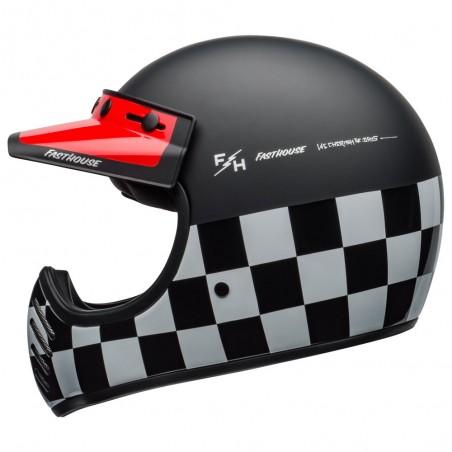 Casco integrale BELL Checkers nero opaco/rosso lucido/bianco